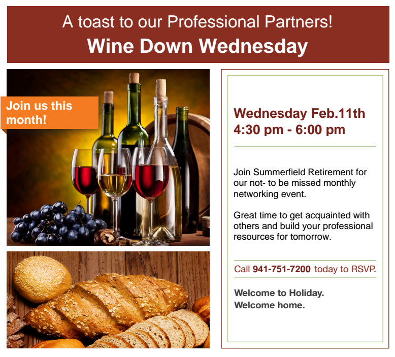 Wine Down Wednesday at Summerfield 2-11-15